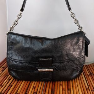 Coach black leather satchel chain purple satin